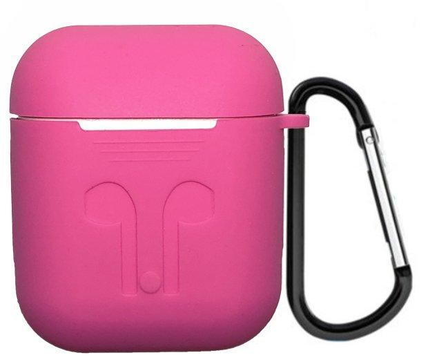 Чехол для AIRPODS silicone case с карабином - Barbie Pink