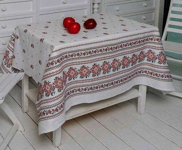 Лляна скатертина на столі/Скатертину з імітацією вишивки/Скатертину 180х150