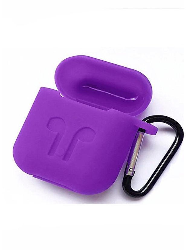 Чехол для AIRPODS silicone case с карабином - Purple