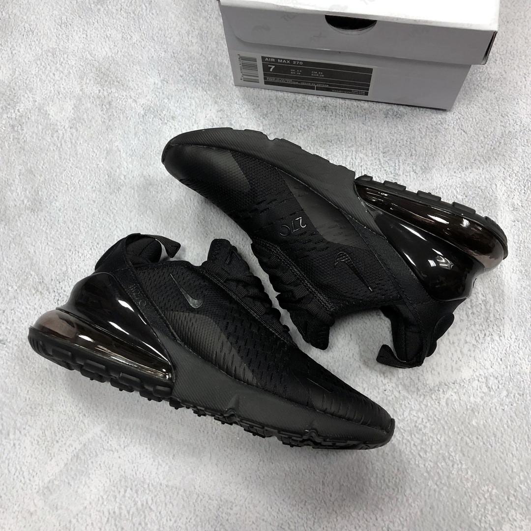 52e58ace Женские кроссовки Nike Air Max 270 полностью черные реплика, цена 1 ...