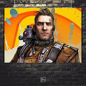 Постер Axton the Commando. Borderlands, BL2, Пограничье. Размер 60x43см (A2). Глянцевая бумага