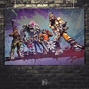 Постер Borderlands, главные герои, Пограничье, BL2. Размер 60x43см (A2). Глянцевая бумага