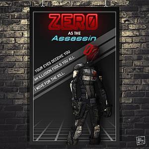 Постер Zero, Assassin, Borderlands, Пограничье, BL2. Размер 60x40см (A2). Глянцевая бумага