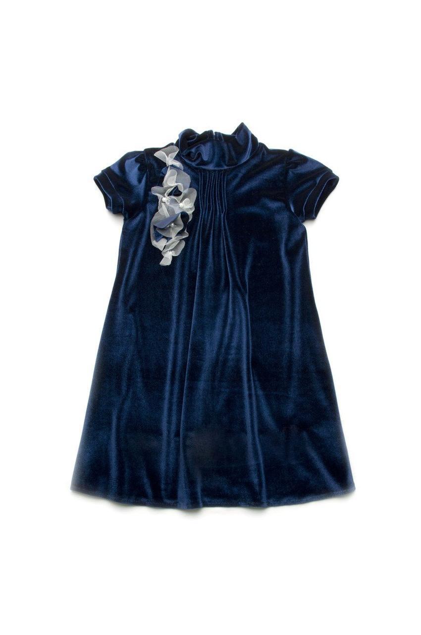 Платье нарядное из бархата, синий