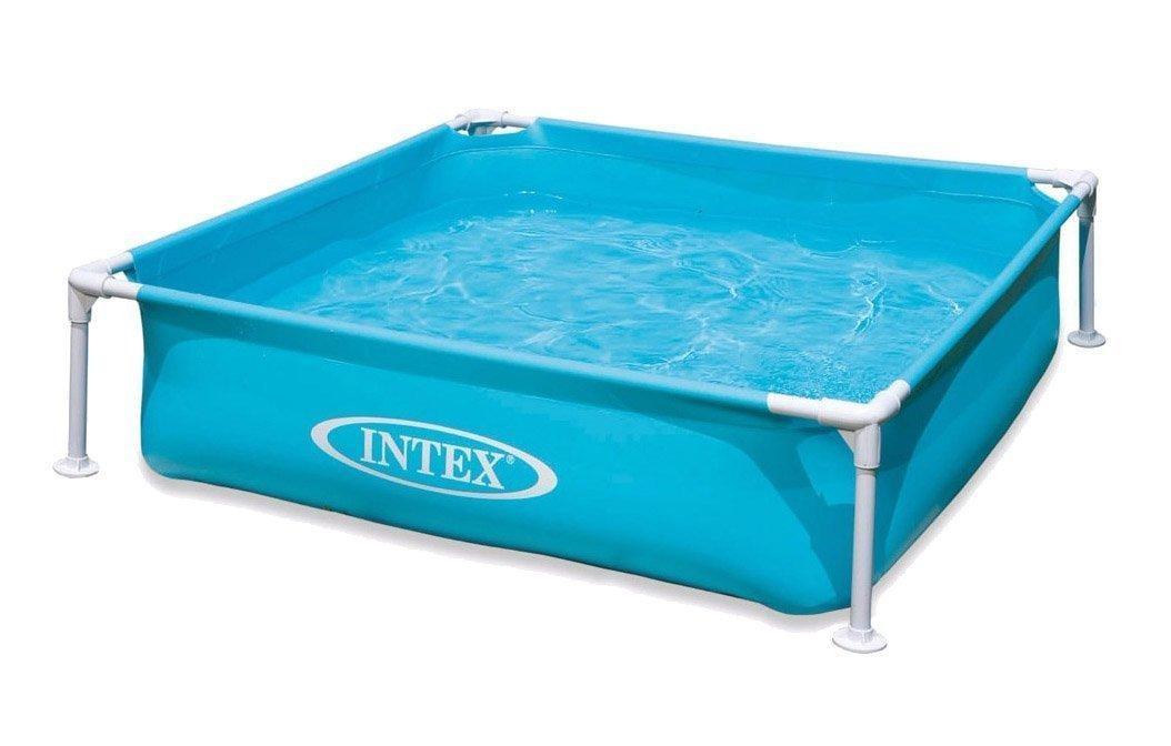 Квадратний басейн з металевим каркасом Intex 57173 для малюків, (висота 30 см), колір блакитний