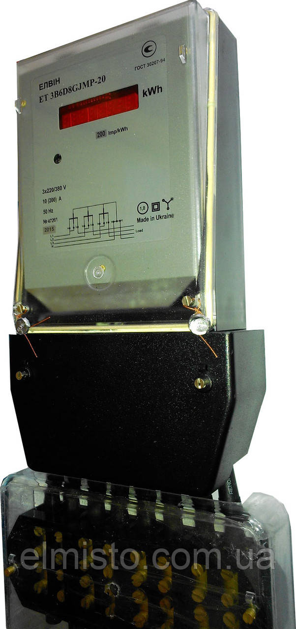 Электросчетчик Элвин ЕТ 3B6D8GJMP-20 10-200А актив трехфазный однотарифный прямого включения, ТВ