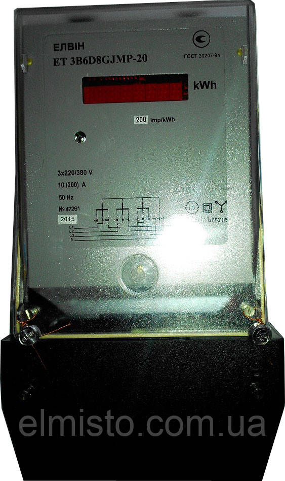 Электросчетчик ЕЛВІН ET 3B6D8GJRP 3*380V 10-60A, 3-ф., нетарифный, А+, ТВ+токовая петля