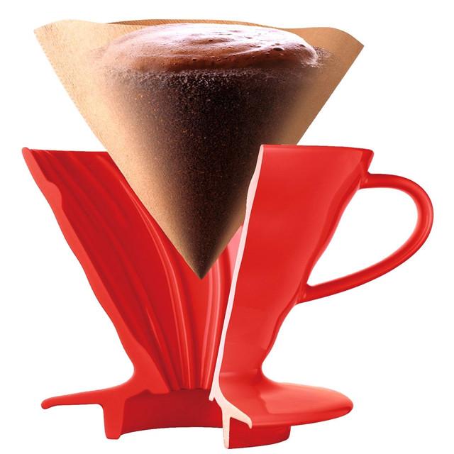 купить пуровер харио красный для заваривания кофе полипропилен пластик