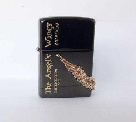 Зажигалка ZIPPO Бензиновая Зиппо (Angel Wings - Black), фото 2