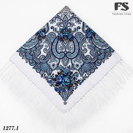Павлопосадский белый платок  Прекрасное мгновенье, фото 2