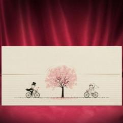 """Свадебные пригласительные """"Жених и невеста на велосипеде"""""""
