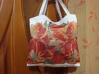 """Пошитая сумка под вышивку """"Тюльпаны"""" белая"""