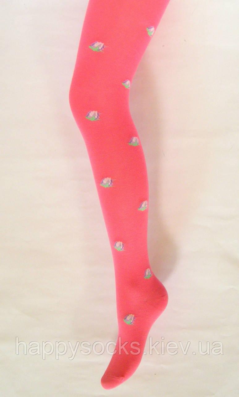 Детские колготки хлопковые кораллового цвета в розовые бутоны 128-134см