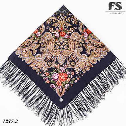 Павлопосадский тёмно-синий платок  Прекрасное мгновенье, фото 2