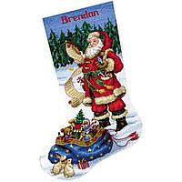 """08645 Набір для вишивання хрестом DIMENSIONS Checking his list. Stocking """"Санта перевіряє свій список. Панчоха"""""""