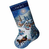 "08712 Набір для вишивання хрестом DIMENSIONS Sleigh Ride at Dusk. Stocking ""Поїздка на санях у сутінках. Панчоха"""