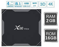 Смарт ТВ Приставка X96 MAX 2гб 16Гб Amlogic S905X2 Смарт Бокс 2-16 tv box x96 Макс Smart box Android 8