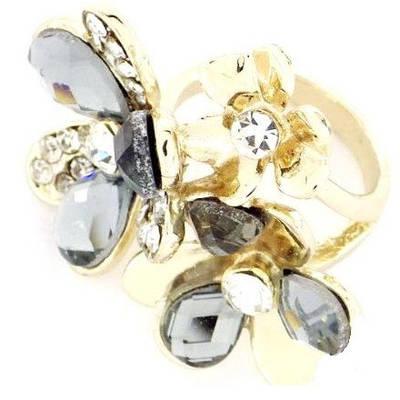 Кольцо с кристаллами и стразами Аурика р.18