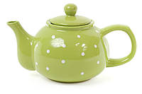 """Чайник заварочный керамический """"Зеленый В Белый Горох"""""""