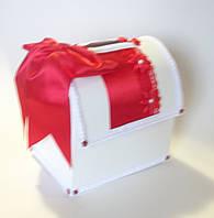 Свадебный сундучок, красно белый., фото 1