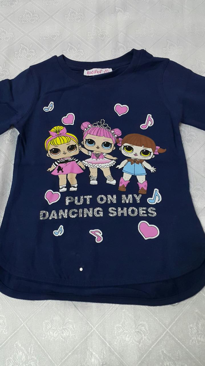 Модный реглан для девочек 92, 98 роста Куклы LOL