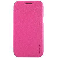 Кожаный чехол книжка Nillkin Sparkle для Samsung Galaxy J1 J100h розовый, фото 1