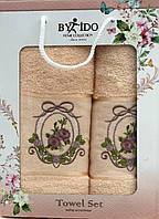 Набор махровых полотенец с вышивкой  By İDO  Турция (50*90 и 70*140), фото 1