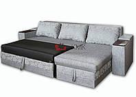 Угловой диван Лорд с нишами в подлокотниках, раскладной механизм Дельфин, подушками