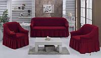 Чехол на диван и 2 кресло,Турция с оборкой DO&CO Бордовый (ЦВЕТА РАЗНЫЕ), фото 1