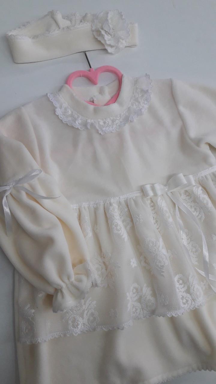 Платье  с повязкой, хлопок-велюр, р.24,26