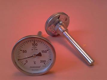"Термометр биметаллический трубчатый PAKKENS Ø63мм / от 0 до 200°С / трубка 10 см с резьбой 1/2"" Турция"
