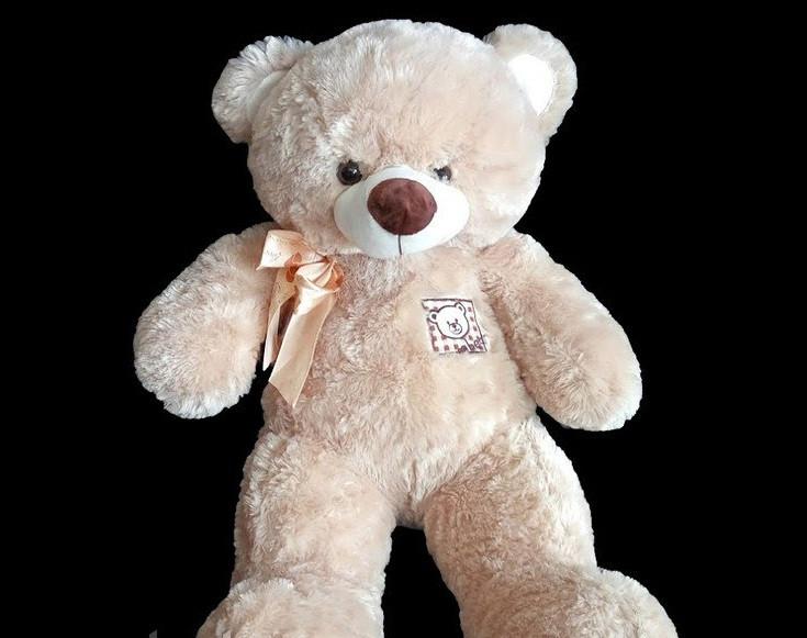 Светло-коричневый плюшевый Мишка 41 см мягкая игрушка на подарок медведь с бантиком