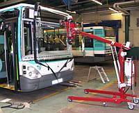 Замена лобового стекла на автобусе Volvo B6 BLE Hess из двух частей  (верх+низ) в Никополе, Киеве, Днепре