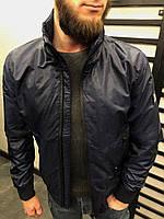 Мужская стильная ветровка (тёмно синяя) с капюшоном потайным