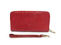 Женский кошелек лаковый на молнии красный, фото 1