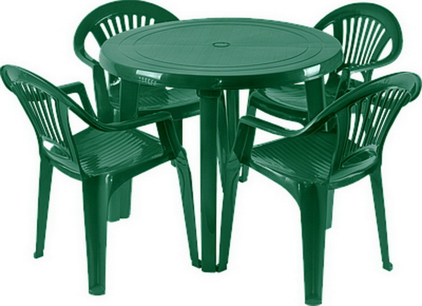 Набор пластиковой мебели. Стол и стулья. 4 Луч Круглый