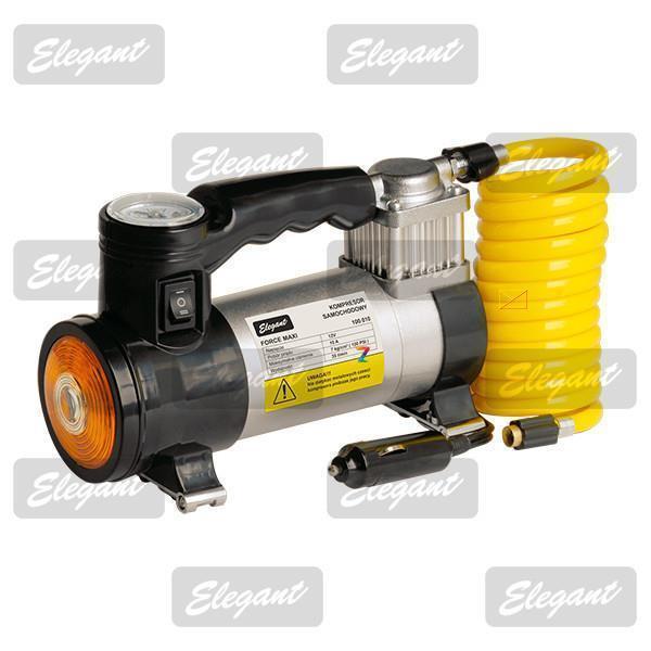 Компрессор автомобильный (насос) Elegant Force Maxi с сигнальным фонарем 100 010