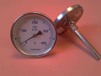"Термометр биметаллический PAKKENS Ø100мм от 0 до 400 градусов, трубка-капилляр 10 см с резьбой 1/2"" Турция"