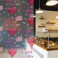 Наклейка интерьерная Грезы (матирующая пленка для стекла, на окно, воздушные шары, сердечки, романтика)