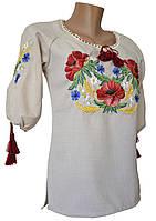 Женская вышитая рубашка маками с круглой горловиной в этно стиле