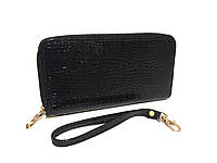Женский кошелек на молнии лаковый черный, фото 1