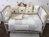 Комплект в детскую кроватку (бортики-зверята, подушки, одеяло, простынь)