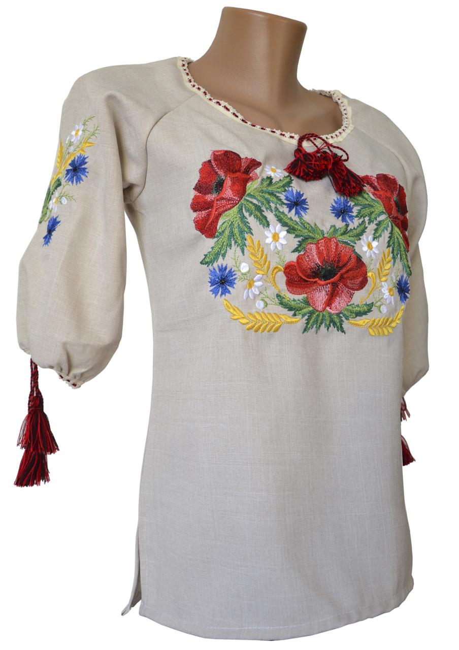 Класична жіноча вишиванка маками на короткий рукав у великих розмірах