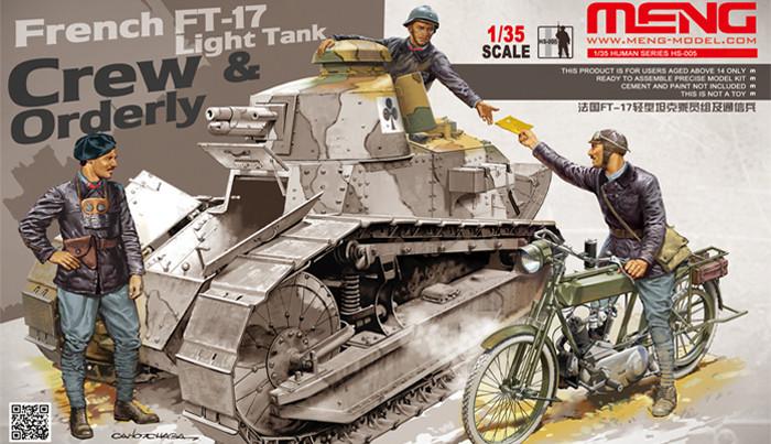 Экипаж танка FT-17 + посыльный на мотоцикле Peugeot . 1/35 MENG HS-005