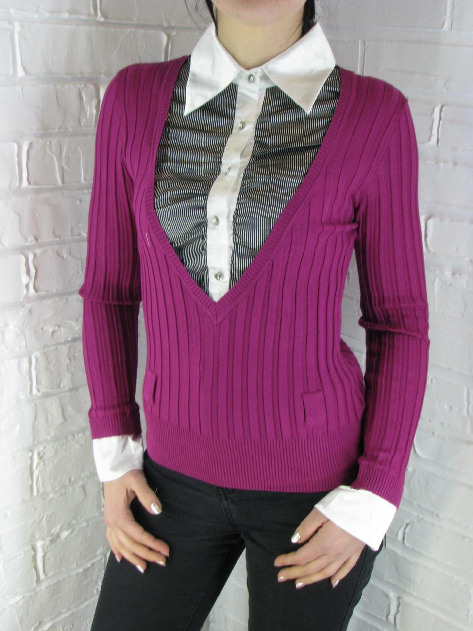 Джемпер с рубашкой 9788 фуксия