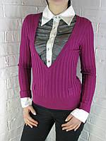Джемпер с рубашкой 9788 фуксия, фото 1