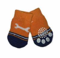 Носки для собак «Оранжевые с косточкой», размер S 4 шт.