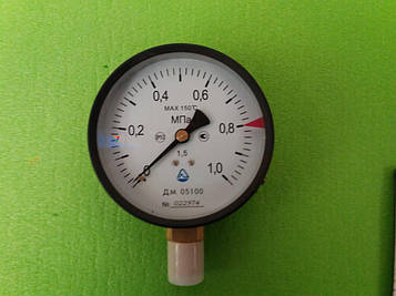Манометр ДМ 05100 от  0 - 1,0 МПа (10 атмосфер) MAX 150 °С,Ø 100 мм