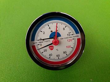 Термоманометр осевой на резьбе 1/2 дюйма Ø80мм / 0-10 бар / Tmax=120°С Китай