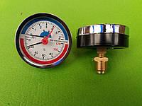 Термоманометр осевой на резьбе 1/2 дюйма Ø80мм / 0-6 бар / Tmax=120°С Китай